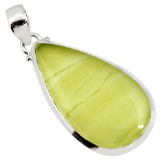 Clearance Sale- 24.00cts natural yellow olive opal pearl 925 sterling silver pendant d41420