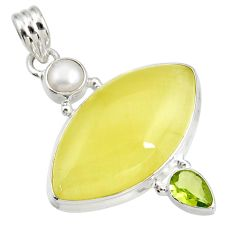 22.54cts natural yellow olive opal peridot pearl 925 silver pendant d41405