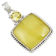 29.93cts natural yellow olive opal topaz 925 sterling silver pendant d39316