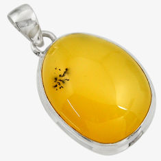 Clearance Sale- 18.70cts natural yellow opal 925 sterling silver pendant jewelry d41883