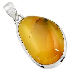 17.57cts natural yellow opal 925 sterling silver pendant jewelry d41893