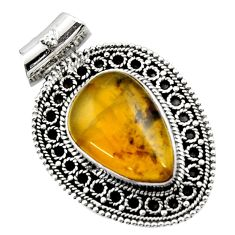 14.61cts natural yellow opal 925 sterling silver pendant jewelry d45003