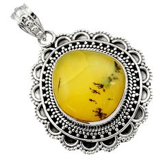 Clearance Sale- 17.36cts natural yellow opal fancy 925 sterling silver pendant jewelry d45025