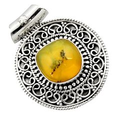 12.62cts natural yellow opal fancy 925 sterling silver pendant jewelry d45035