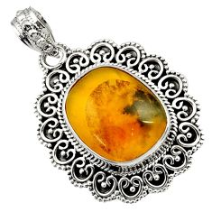 Clearance Sale- 15.33cts natural yellow opal fancy 925 sterling silver pendant jewelry d45037