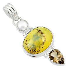 12.06cts natural yellow opal smoky topaz 925 sterling silver pendant t10674