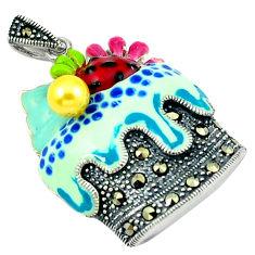 Natural yellow pearl marcasite enamel 925 silver cupcake pendant c18774