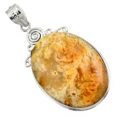 25.00cts natural yellow plume agate 925 sterling silver pendant jewelry r32083