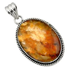 22.57cts natural yellow plume agate 925 sterling silver pendant jewelry r32086