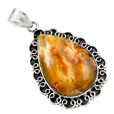 23.48cts natural yellow plume agate 925 sterling silver pendant jewelry r32089