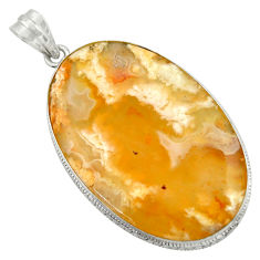 38.22cts natural yellow plume agate 925 sterling silver pendant jewelry r41654