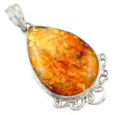 18.15cts natural yellow plume agate 925 sterling silver pendant jewelry r41709