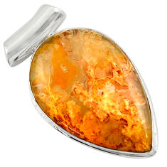 19.72cts natural yellow plume agate 925 sterling silver pendant jewelry r41710
