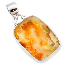 12.65cts natural yellow plume agate 925 sterling silver pendant jewelry r46542