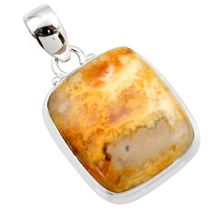 15.72cts natural yellow plume agate 925 sterling silver pendant jewelry r46546