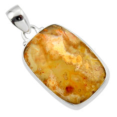 14.85cts natural yellow plume agate 925 sterling silver pendant jewelry r46550