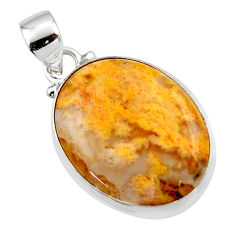 12.60cts natural yellow plume agate 925 sterling silver pendant jewelry r46551