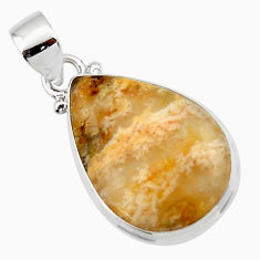 11.70cts natural yellow plume agate 925 sterling silver pendant jewelry r46552