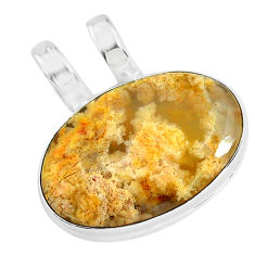 13.67cts natural yellow plume agate 925 sterling silver pendant jewelry r94625