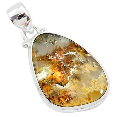 13.70cts natural yellow plume agate 925 sterling silver pendant jewelry r94911