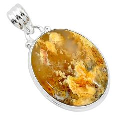 16.20cts natural yellow plume agate 925 sterling silver pendant jewelry r94915