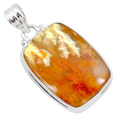 15.08cts natural yellow plume agate 925 sterling silver pendant jewelry r94916