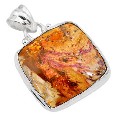 14.20cts natural yellow plume agate 925 sterling silver pendant jewelry t28609
