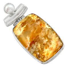 29.93cts natural yellow plume agate pearl 925 sterling silver pendant r41659