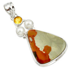 Clearance Sale- 24.38cts natural yellow rocky butte picture jasper 925 silver pendant d41962