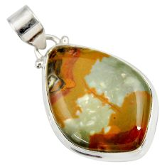 21.42cts natural yellow rocky butte picture jasper 925 silver pendant d41971
