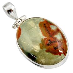 Clearance Sale- 28.30cts natural yellow rocky butte picture jasper 925 silver pendant d41973