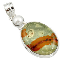 Clearance Sale- 20.07cts natural yellow rocky butte picture jasper 925 silver pendant d41975