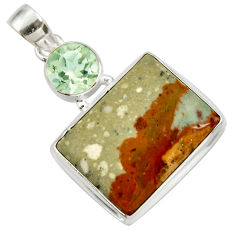 Clearance Sale- 25.00cts natural yellow rocky butte picture jasper 925 silver pendant d41976