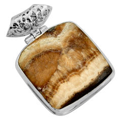 Clearance Sale- 35.18cts natural yellow schalenblende polen 925 sterling silver pendant d41926