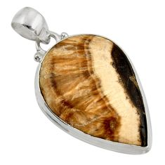 Clearance Sale- 29.78cts natural yellow schalenblende polen 925 sterling silver pendant d41929