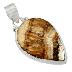 Clearance Sale- 23.41cts natural yellow schalenblende polen 925 sterling silver pendant d41932