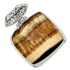 Clearance Sale- 31.56cts natural yellow schalenblende polen 925 sterling silver pendant d41935