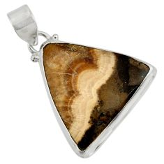 Clearance Sale- 25.57cts natural yellow schalenblende polen 925 sterling silver pendant d41938