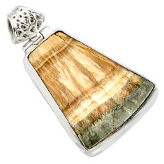 Clearance Sale- 27.08cts natural yellow schalenblende polen 925 sterling silver pendant d41950