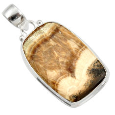 Clearance Sale- 26.16cts natural yellow schalenblende polen 925 sterling silver pendant d41953