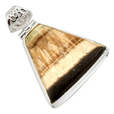 Clearance Sale- 30.40cts natural yellow schalenblende polen 925 sterling silver pendant d41957