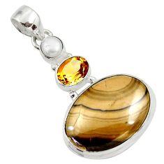 Clearance Sale- 20.07cts natural yellow schalenblende polen citrine 925 silver pendant d45447