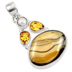 Clearance Sale- 19.65cts natural yellow schalenblende polen citrine 925 silver pendant d45450