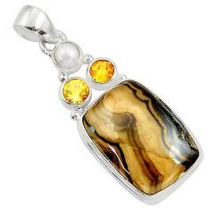 Clearance Sale- 24.38cts natural yellow schalenblende polen citrine 925 silver pendant d45452