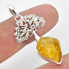 9.61cts natural yellow tourmaline 925 silver tree of life pendant t31008