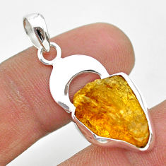 7.64cts natural yellow tourmaline 925 sterling silver moon pendant t31015