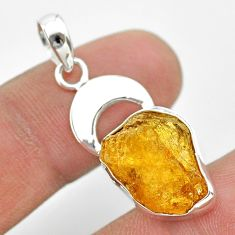 9.45cts natural yellow tourmaline 925 sterling silver moon pendant t31016