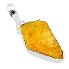11.57cts natural yellow tourmaline 925 sterling silver pendant t31189