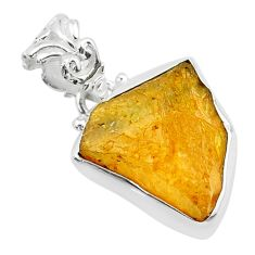11.20cts natural yellow tourmaline 925 sterling silver pendant t31193