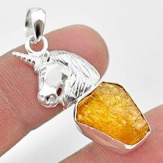 7.12cts natural yellow tourmaline 925 sterling silver unicorn pendant t31011